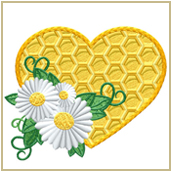 Bees Heart Embroidery Design Embroidery Design
