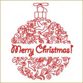 Christmas Greeting Ornament 1 Embroidery Design