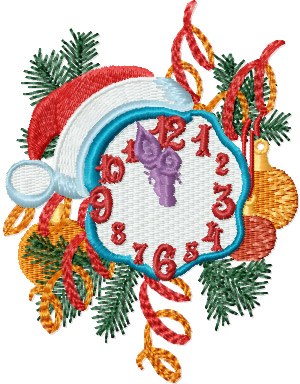 Christmas Clock Free Embroidery Design