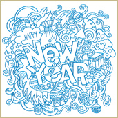 Happy New Year Collage Embroidery Design Embroidery Design