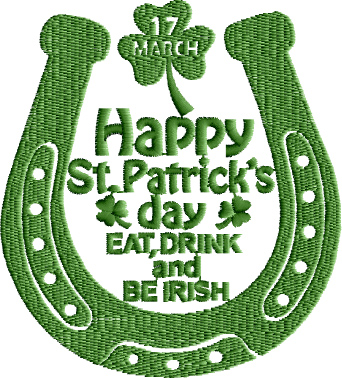 Happy St.Patrick Day Be Irish Free Embroidery Design