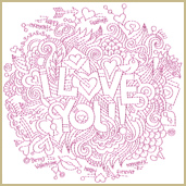 I Love You Embroidery Design Embroidery Design