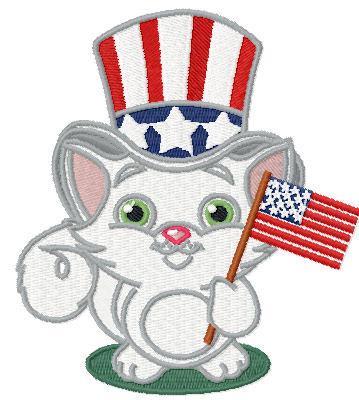 Patriotic Cat Machine Embroidery Design