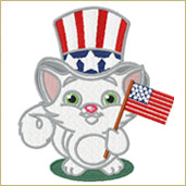 Patriotic Cat Embroidery Design