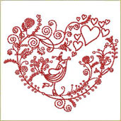 Valentine Bird Embroidery Design Embroidery Design