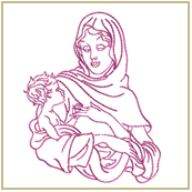 Virgin Mary Holding Baby Jesus Embroidery Design Embroidery Design